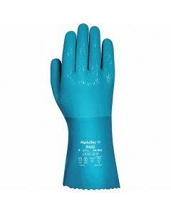 """Ansell 04-002 Alphatec Blue 12"""" Lined PVC/Nitrile Gloves, 12 Pairs/Bag"""