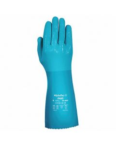 """Ansell AlphaTec 04003 14"""" Blue Lined PVC/Nitrile Gloves, 12 Pairs/Bag"""