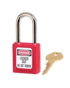 Master Lock 410KARED Red Zenex 1-1/2in (38mm) Wide Thermoplastic Safety Padlock