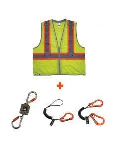 Ergodyne GloWear 8231TVK Hi-Vis Type R Class 2 Tool Tethering Safety Vest Kit