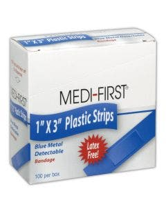 "Medi-First MP67133 Blue 1"" x 3"" Metal Detectable Plastic Bandages"
