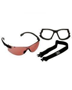 3M Solus Black Temples Scotchgard Anti-Fog Anti-Scratch Safety Glasses With Foam and Strap