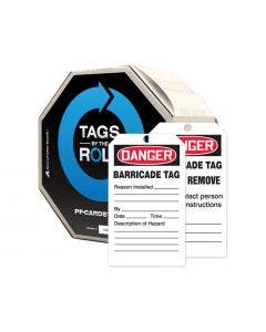 """Accuform Signs® By-The-Roll™ 6.25"""" x 3"""" PF-Cardstock Tag """"DANGER.."""", Red/Black On White, 100/Roll"""