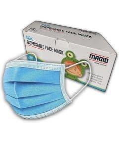 Magid KM005 3-Ply Disposable Kids Face Mask with Adjustable Nose Bridge, 50/dispenser