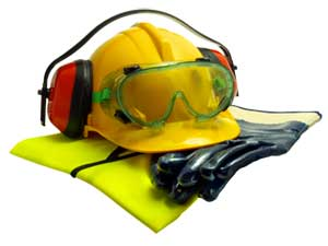 Image of a hard hat, safety goggles, protective ear muffs, and a safety vest