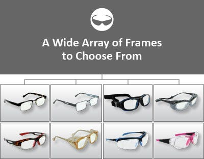 """8 different types of protective eyewear and text saying, """"A wide array of frames to choose from"""""""