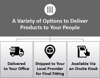 """Icons showing delivery options and text saying, """"A variety of options to deliver products to your people"""""""