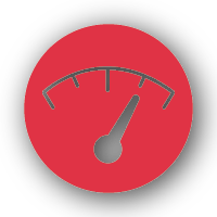 An icon of a gauge showing a high level