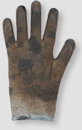 Image of a glove with excessive saturation that needs to be discarded and replaced
