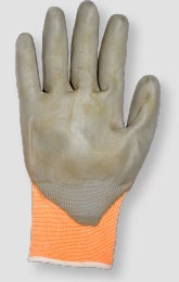 Image of a glove that has been lightly soiled and needs to be monitored
