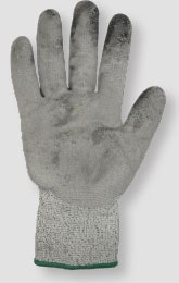 Image of a glove that has thin spots on the glove coating and needs to be discarded and replaced